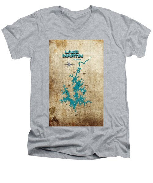 Vintage Map - Lake Martin Al Men's V-Neck T-Shirt by Greg Sharpe