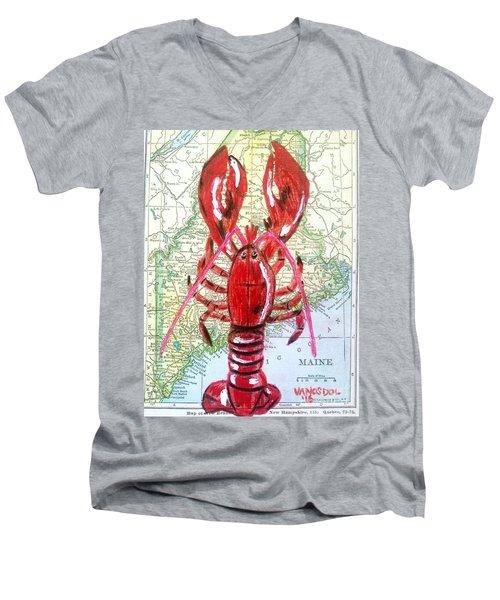 Vintage Map Maine Red Lobster Men's V-Neck T-Shirt by Scott D Van Osdol
