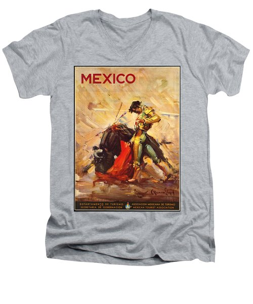 Vintage Mexico Bullfight Travel Poster Men's V-Neck T-Shirt by George Pedro