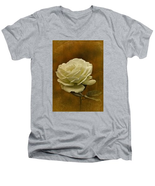 Vintage November White Rose Men's V-Neck T-Shirt by Richard Cummings