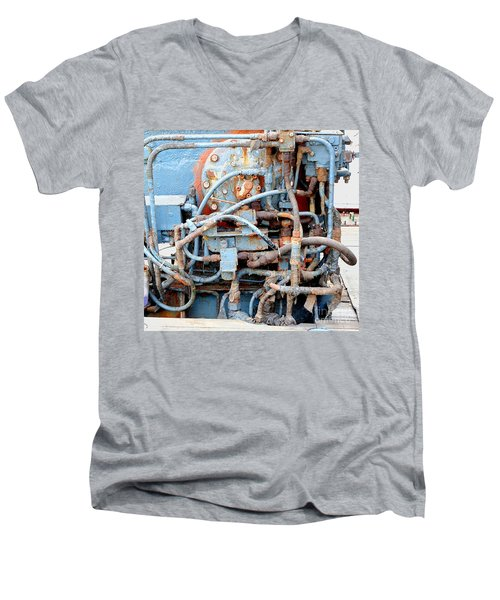 Men's V-Neck T-Shirt featuring the photograph Vintage Old Diesel Engine On A Ship by Yali Shi