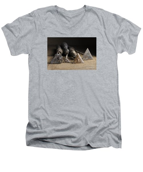 Men's V-Neck T-Shirt featuring the photograph Vintage Paint Scrapers. by Trevor Chriss