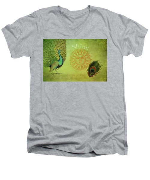 Men's V-Neck T-Shirt featuring the digital art Vintage Peacock Art by Peggy Collins