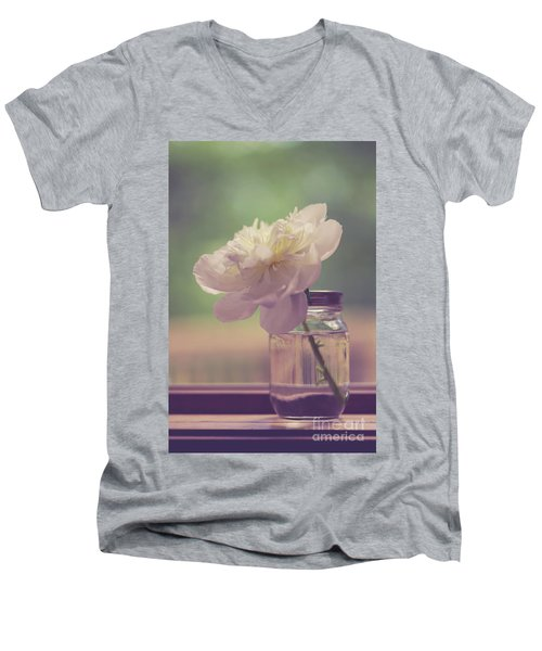 Men's V-Neck T-Shirt featuring the photograph Vintage Peony Flower Still Life by Edward Fielding