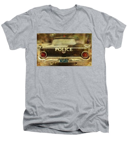 Vintage Police Car - Baltimore, Maryland Men's V-Neck T-Shirt