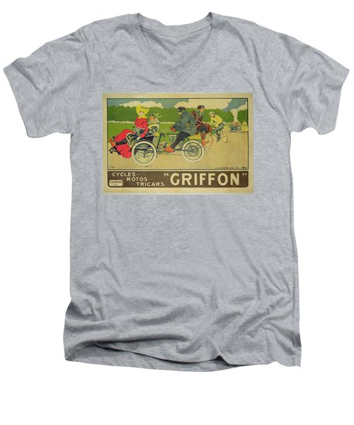Vintage Poster Bicycle Advertisement Men's V-Neck T-Shirt by Walter Thor