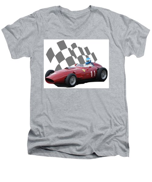 Vintage Racing Car And Flag 2 Men's V-Neck T-Shirt by John Colley