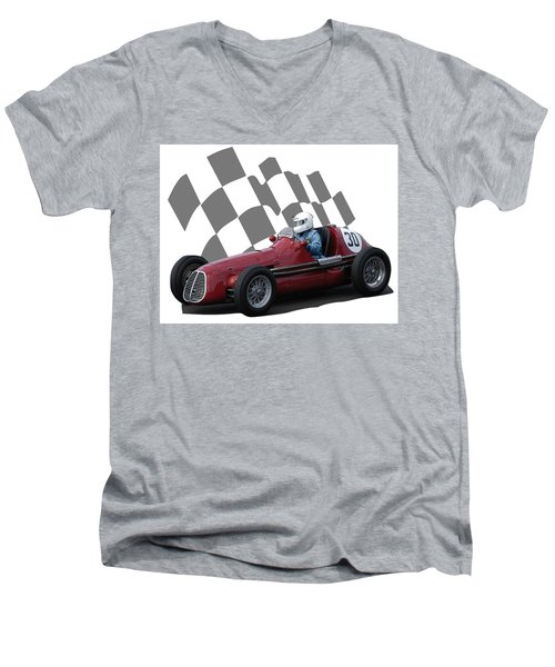 Vintage Racing Car And Flag 6 Men's V-Neck T-Shirt by John Colley