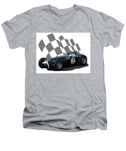 Vintage Racing Car And Flag 8 Men's V-Neck T-Shirt by John Colley