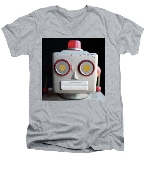 Vintage Robot Square Men's V-Neck T-Shirt
