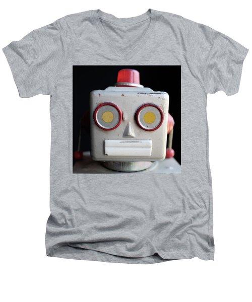 Vintage Robot Square Men's V-Neck T-Shirt