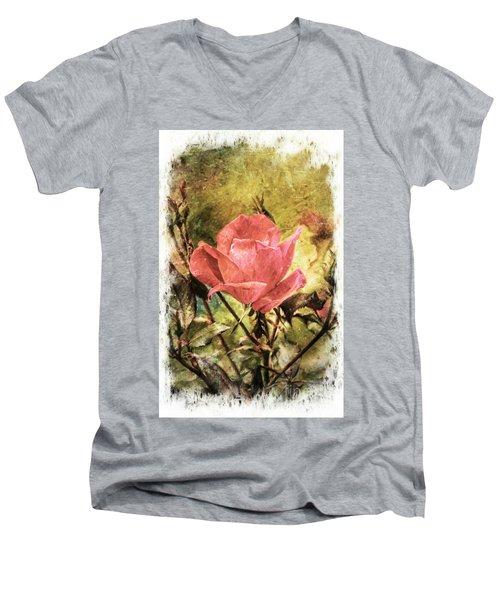 Vintage Rose Men's V-Neck T-Shirt by Tina  LeCour