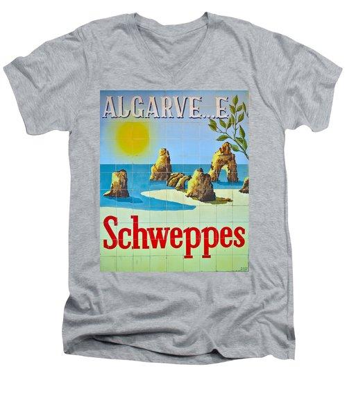 Vintage Schweppes Algarve Mosaic Men's V-Neck T-Shirt