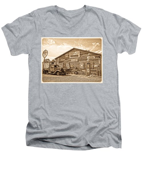 Vintage Service Station Men's V-Neck T-Shirt by Steve McKinzie