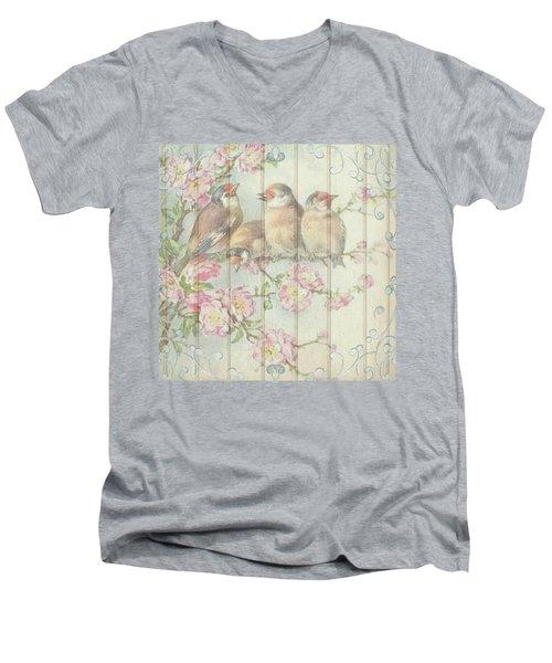 Vintage Shabby Chic Floral Faded Birds Design Men's V-Neck T-Shirt