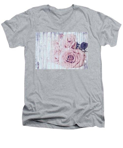 Vintage Shabby Chic Dusky Pink Roses On Blue Wood Effect Background Men's V-Neck T-Shirt
