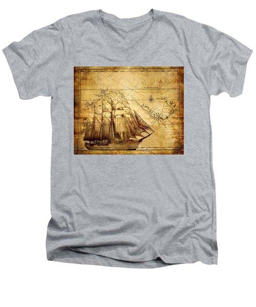 Vintage Ship Map Men's V-Neck T-Shirt