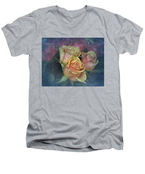 Vintage Sunday Roses Men's V-Neck T-Shirt by Richard Cummings