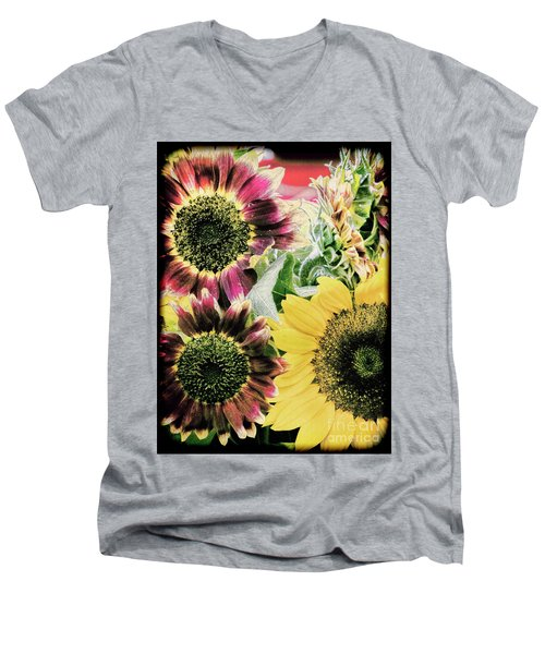 Vintage Sunflowers Men's V-Neck T-Shirt by Karen Lewis