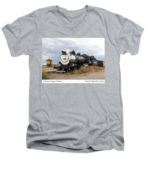 Men's V-Neck T-Shirt featuring the photograph Vintage Train At A Scenic Railroad Station In Antonito In Colorado by Carol M Highsmith