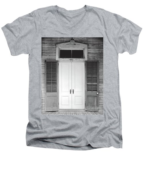 Men's V-Neck T-Shirt featuring the photograph Vintage Tropical Weathered Key West Florida Doorway by John Stephens