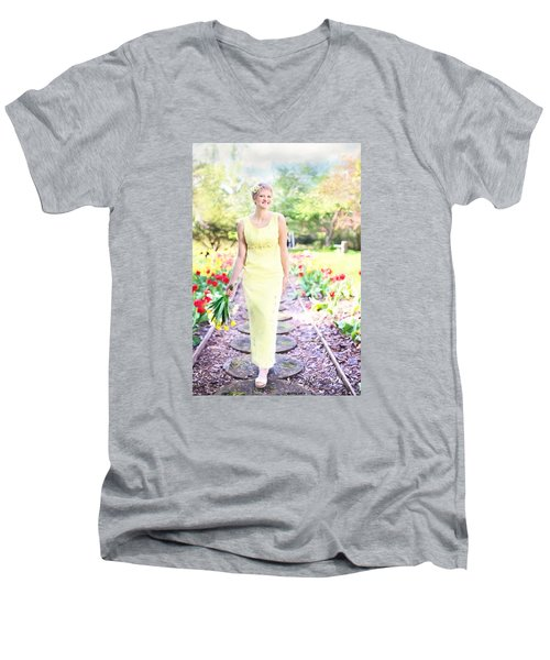 Vintage Val In Tulips Men's V-Neck T-Shirt