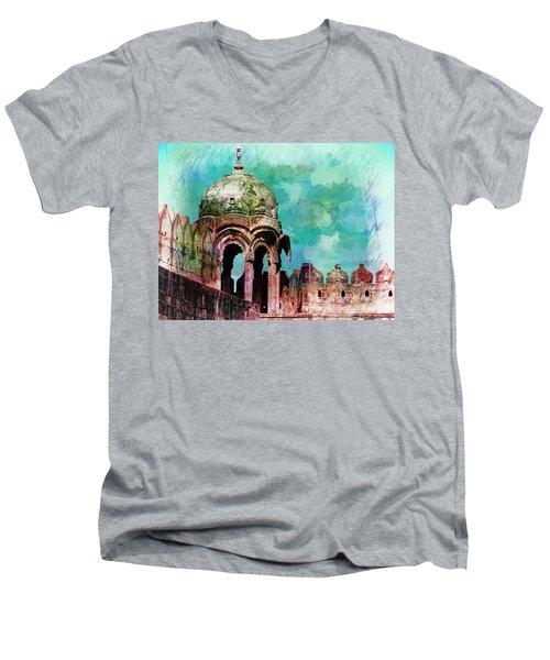 Vintage Watercolor Gazebo Ornate Palace Mehrangarh Fort India Rajasthan 2a Men's V-Neck T-Shirt