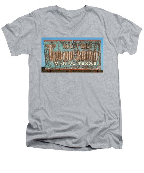 Men's V-Neck T-Shirt featuring the photograph Vintage Weathered Thunderbird Motel Sign Marfa Texas by John Stephens