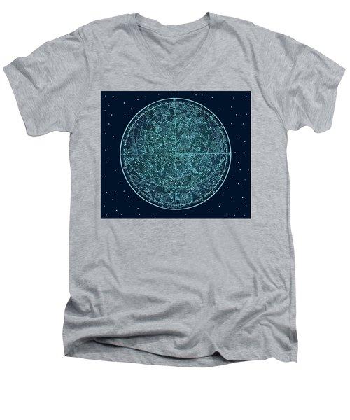 Vintage Zodiac Map - Teal Blue Men's V-Neck T-Shirt