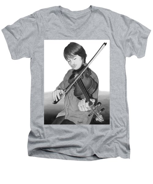 Men's V-Neck T-Shirt featuring the painting Viola Master by Ferrel Cordle