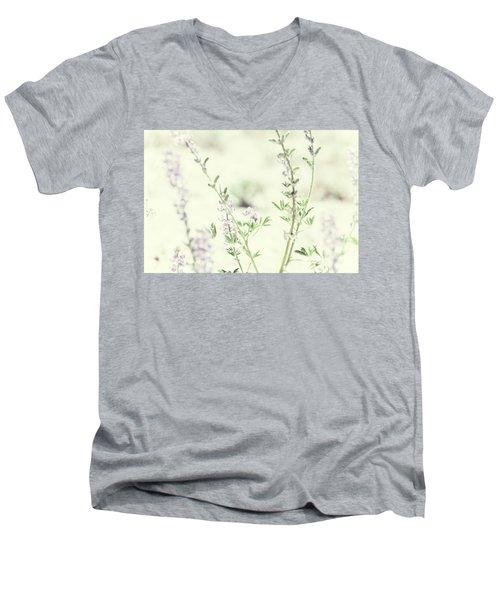 Violet And Green Bloom Men's V-Neck T-Shirt