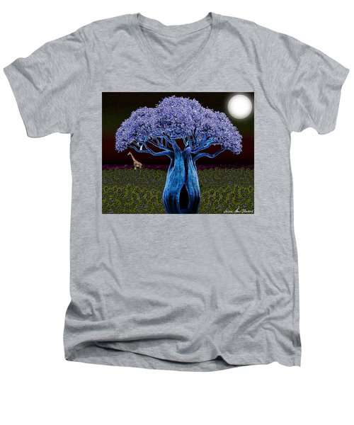 Violet Blue Baobab Men's V-Neck T-Shirt by Iowan Stone-Flowers