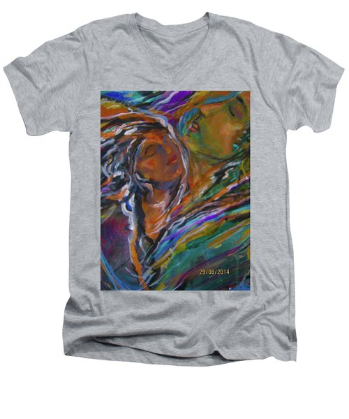 Violets And Ordchid Men's V-Neck T-Shirt by Dawn Fisher