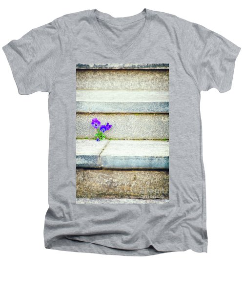 Men's V-Neck T-Shirt featuring the photograph Violets    by Silvia Ganora