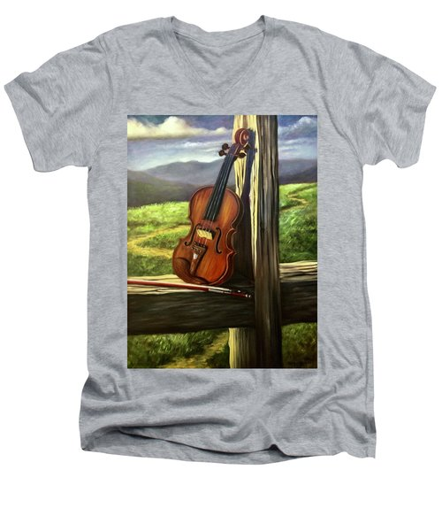 Men's V-Neck T-Shirt featuring the painting Violin by Randol Burns