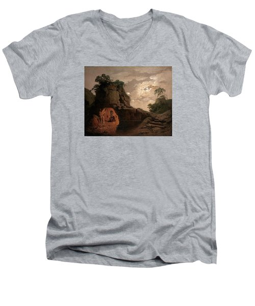 Men's V-Neck T-Shirt featuring the painting Virgil's Tomb By Moonlight With Silius Italicus Declaiming by Joseph Wright of Derby