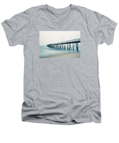 Virginia Beach Fishing Pier Men's V-Neck T-Shirt by Scott Meyer