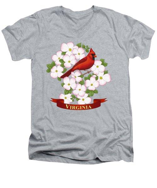 Virginia State Bird Cardinal And Flowering Dogwood Men's V-Neck T-Shirt
