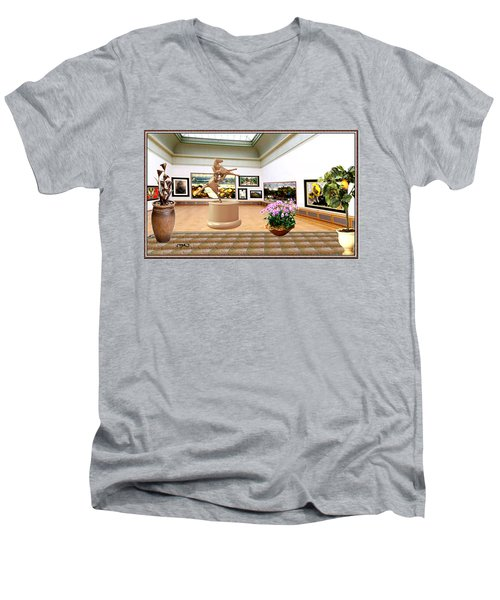 Virtual Exhibition - A Modern Horse Statue Men's V-Neck T-Shirt by Pemaro
