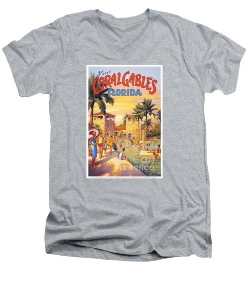 Visit Coral Gables-florida Men's V-Neck T-Shirt by Nostalgic Prints