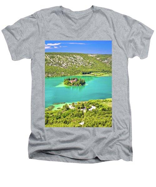 Visovac Lake Island Monastery Aerial View Men's V-Neck T-Shirt