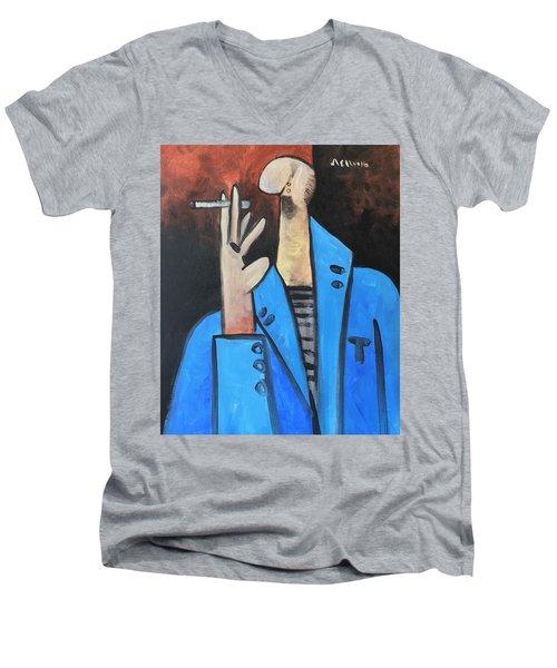 Vitae The Smoker In A Blue Blazer  Men's V-Neck T-Shirt