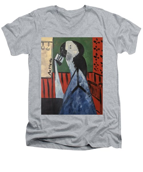 Vitae Thinking Man At The Tea House  Men's V-Neck T-Shirt