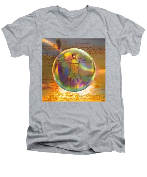 Vitruvian Vulcan Men's V-Neck T-Shirt by Robin Moline