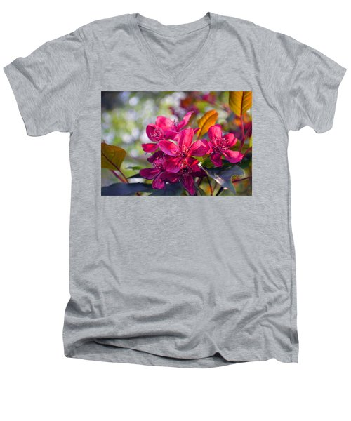Vivid Pink Flowers Men's V-Neck T-Shirt by Tina M Wenger