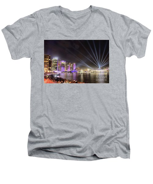 Men's V-Neck T-Shirt featuring the photograph Vivid Sydney Skyline By Kaye Menner by Kaye Menner