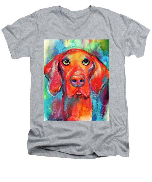 Vizsla Dog Portrait Men's V-Neck T-Shirt