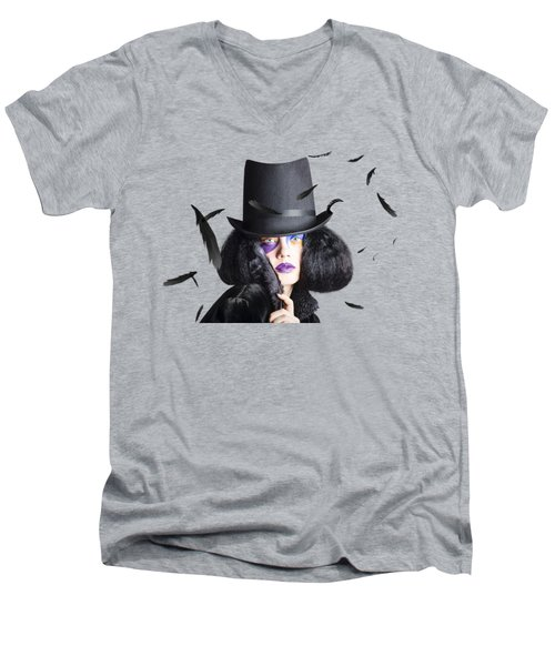 Vogue Woman In Black Costume Men's V-Neck T-Shirt