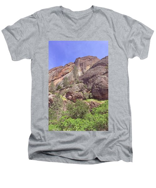 Men's V-Neck T-Shirt featuring the photograph Volcanic Colors by Art Block Collections