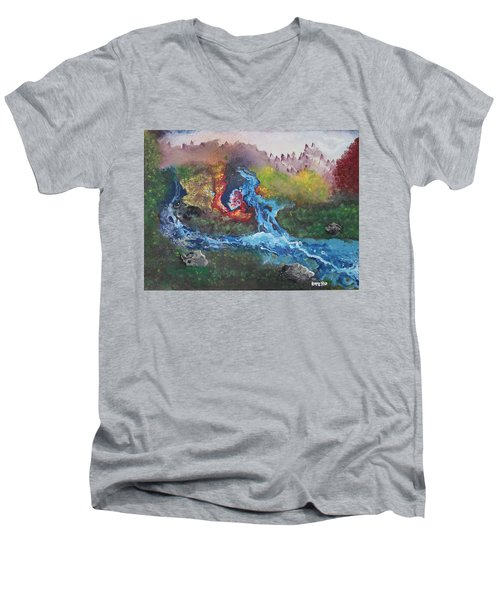 Volcano Delta Men's V-Neck T-Shirt by Antonio Romero